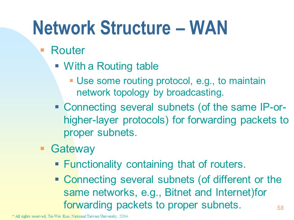 * All rights reserved, Tei-Wei Kuo, National Taiwan University, 2004. 58 Network Structure – WAN  Router  With a Routing table  Use some routing pr