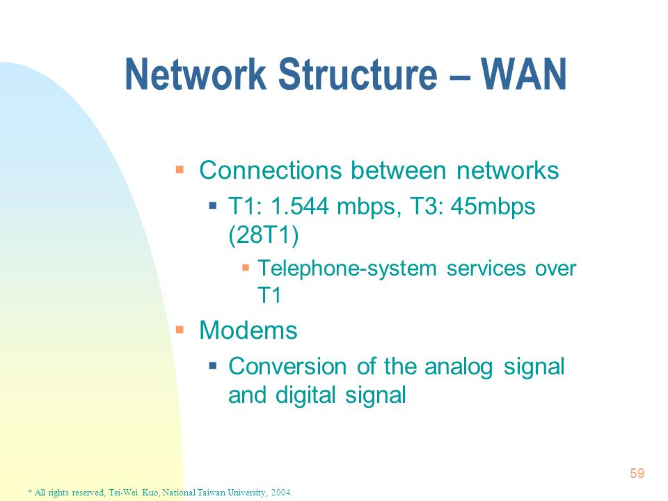 * All rights reserved, Tei-Wei Kuo, National Taiwan University, 2004. 59 Network Structure – WAN  Connections between networks  T1: 1.544 mbps, T3: