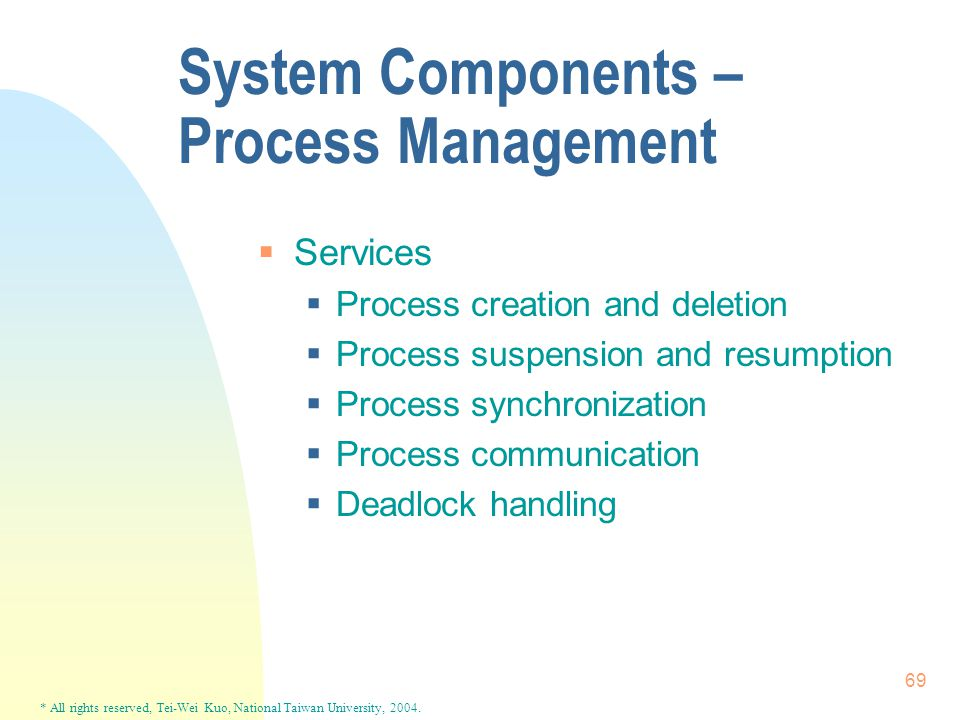 * All rights reserved, Tei-Wei Kuo, National Taiwan University, 2004. 69 System Components – Process Management  Services  Process creation and dele