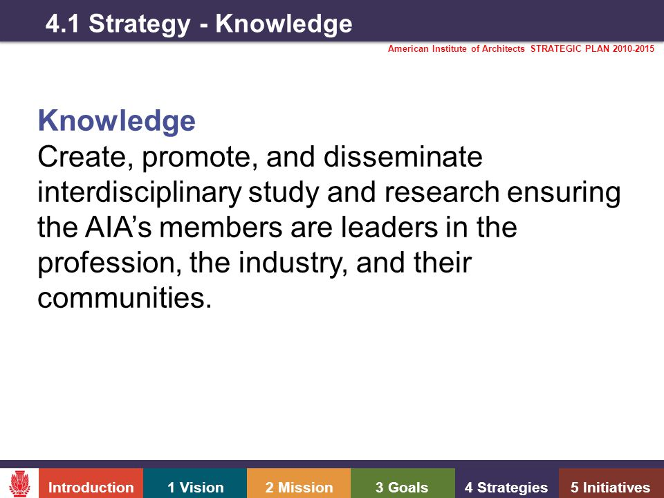 Introduction1 Vision2 Mission3 Goals4 Strategies5 Initiatives American Institute of Architects STRATEGIC PLAN 2010-2015 4.1 Strategy - Knowledge Knowledge Create, promote, and disseminate interdisciplinary study and research ensuring the AIA's members are leaders in the profession, the industry, and their communities.