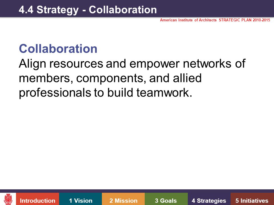 Introduction1 Vision2 Mission3 Goals4 Strategies5 Initiatives American Institute of Architects STRATEGIC PLAN 2010-2015 4.4 Strategy - Collaboration Collaboration Align resources and empower networks of members, components, and allied professionals to build teamwork.