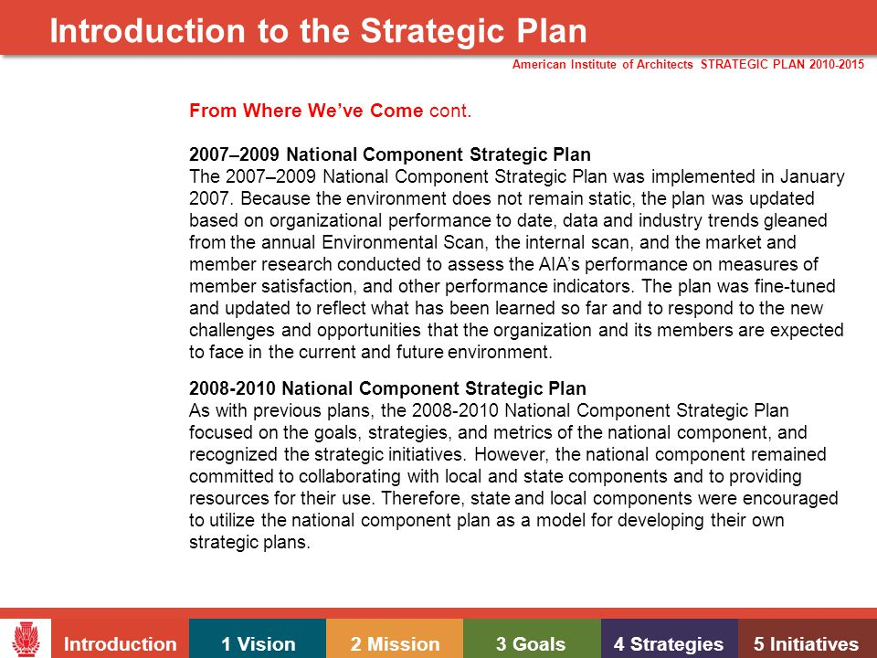 Introduction1 Vision2 Mission3 Goals4 Strategies5 Initiatives American Institute of Architects STRATEGIC PLAN 2010-2015 Introduction to the Strategic Plan