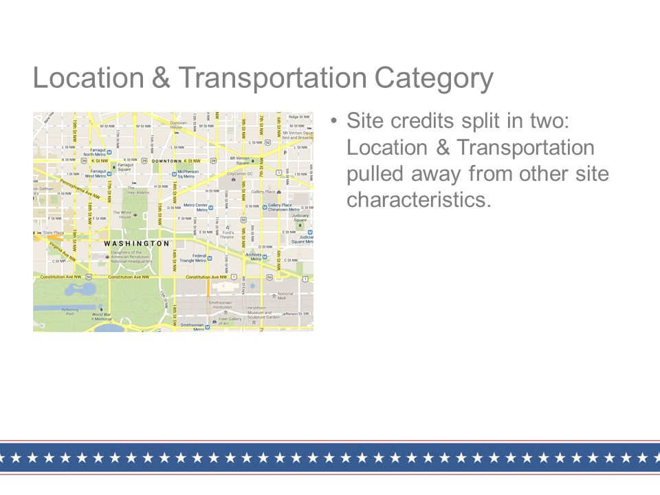 Site credits split in two: Location & Transportation pulled away from other site characteristics.