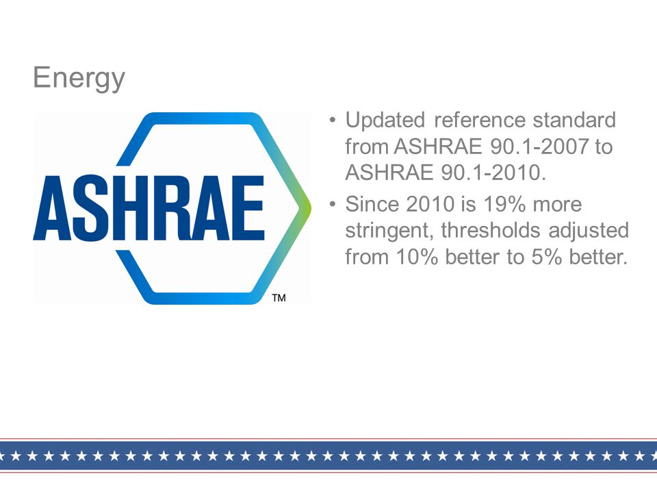 Updated reference standard from ASHRAE 90.1-2007 to ASHRAE 90.1-2010.
