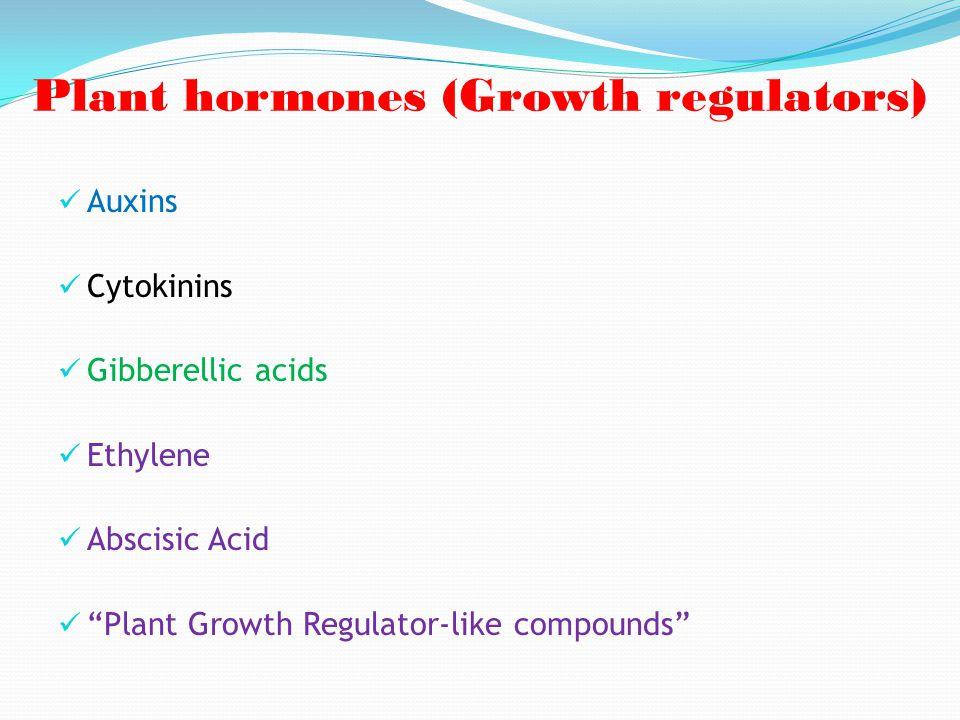 "Plant hormones (Growth regulators) Auxins Cytokinins Gibberellic acids Ethylene Abscisic Acid ""Plant Growth Regulator-like compounds"""