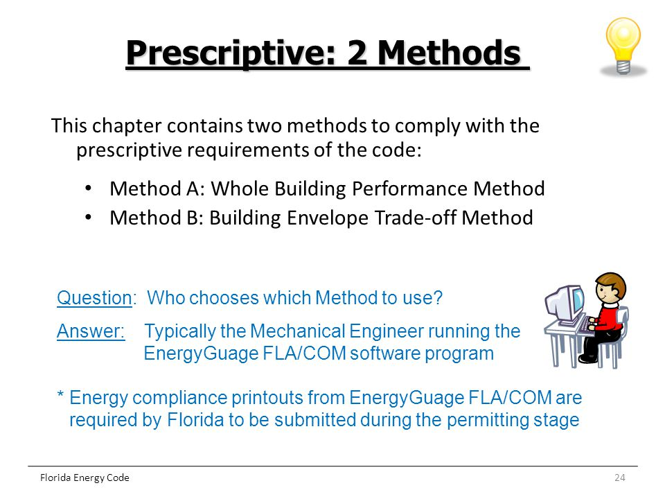 24 Prescriptive: 2 Methods Florida Energy Code This chapter contains two methods to comply with the prescriptive requirements of the code: Method A: W