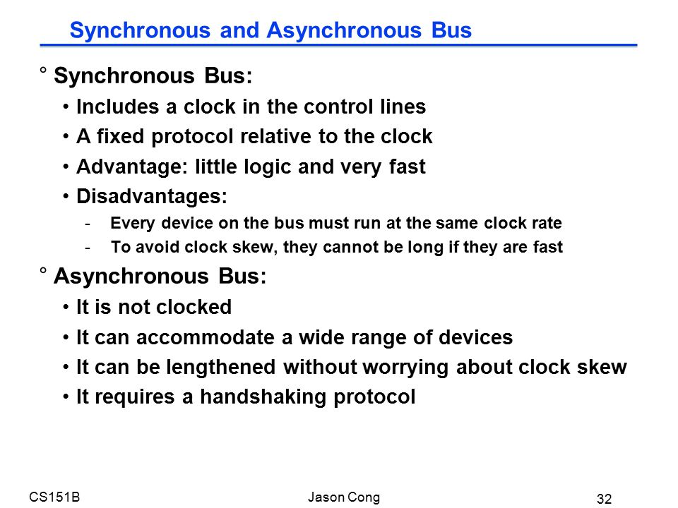 32 CS151BJason Cong °Synchronous Bus: Includes a clock in the control lines A fixed protocol relative to the clock Advantage: little logic and very fast Disadvantages: -Every device on the bus must run at the same clock rate -To avoid clock skew, they cannot be long if they are fast °Asynchronous Bus: It is not clocked It can accommodate a wide range of devices It can be lengthened without worrying about clock skew It requires a handshaking protocol Synchronous and Asynchronous Bus