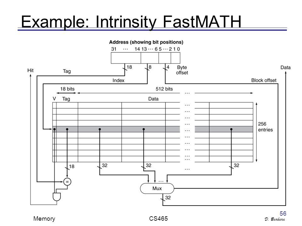 D. Barbara Memory CS465 56 Example: Intrinsity FastMATH