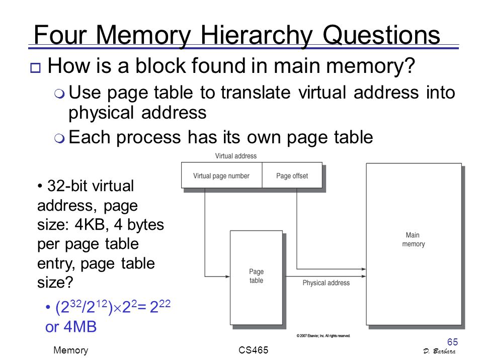 D. Barbara Memory CS465 65 Four Memory Hierarchy Questions  How is a block found in main memory.
