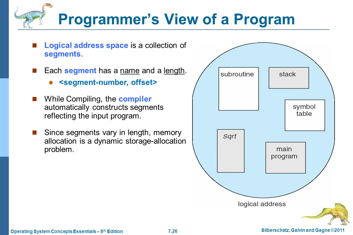 7.26 Silberschatz, Galvin and Gagne ©2011 Operating System Concepts Essentials – 8 th Edition Programmer's View of a Program Logical address space is a collection of segments.