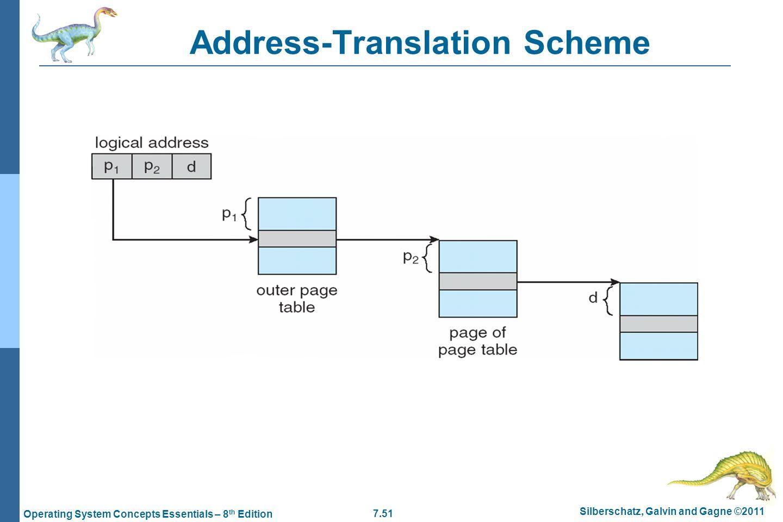 7.51 Silberschatz, Galvin and Gagne ©2011 Operating System Concepts Essentials – 8 th Edition Address-Translation Scheme