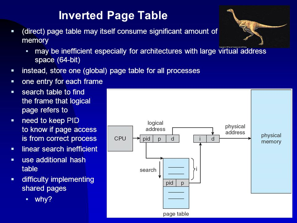 10  (direct) page table may itself consume significant amount of memory may be inefficient especially for architectures with large virtual address sp