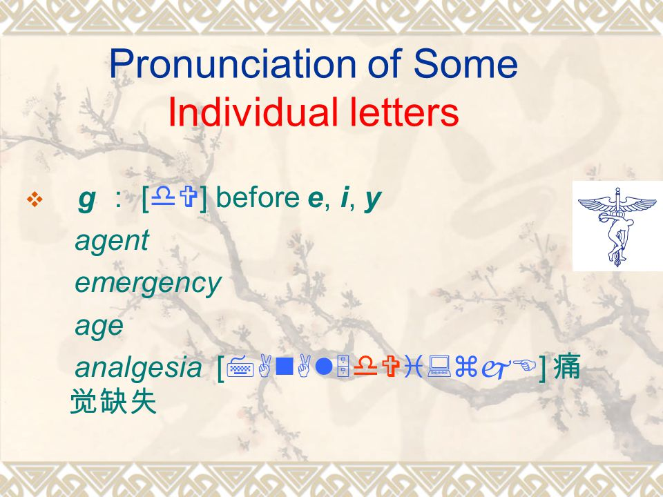 Pronunciation of Some Individual letters  g : [dV] before e, i, y agent emergency age analgesia [7AnAl5dVi:zjE] 痛 觉缺失