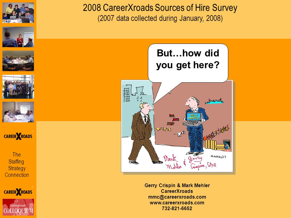 The Staffing Strategy Connection 2008 CareerXroads Sources of Hire Survey (2007 data collected during January, 2008) Gerry Crispin & Mark Mehler Caree