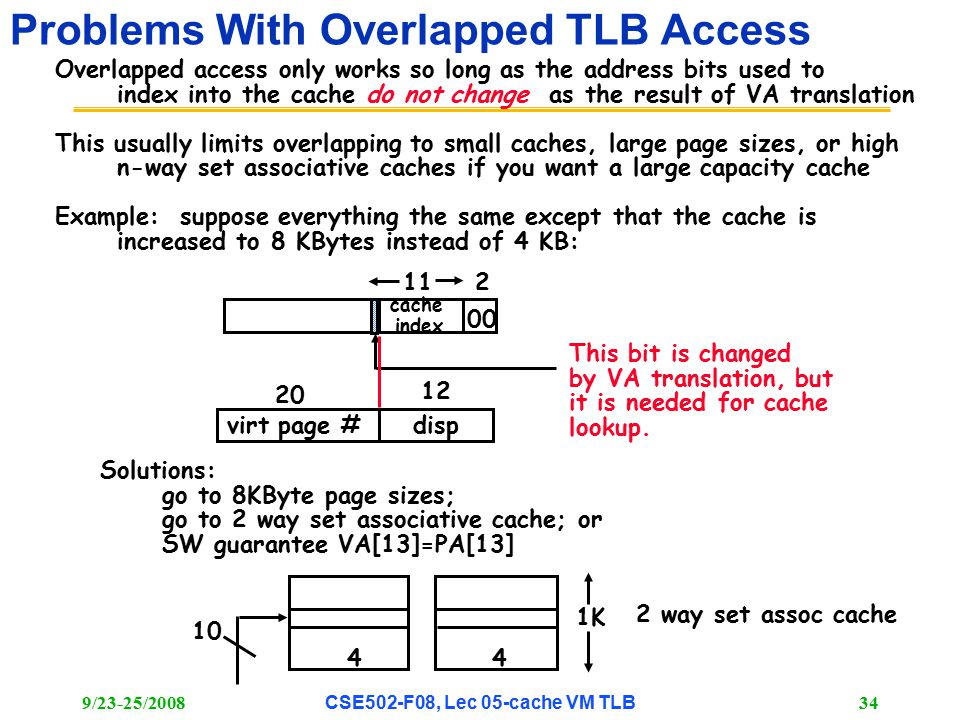 9/23-25/2008CSE502-F08, Lec 05-cache VM TLB 34 Problems With Overlapped TLB Access Overlapped access only works so long as the address bits used to index into the cache do not change as the result of VA translation This usually limits overlapping to small caches, large page sizes, or high n-way set associative caches if you want a large capacity cache Example: suppose everything the same except that the cache is increased to 8 KBytes instead of 4 KB: 112 00 virt page #disp 20 12 cache index This bit is changed by VA translation, but it is needed for cache lookup.
