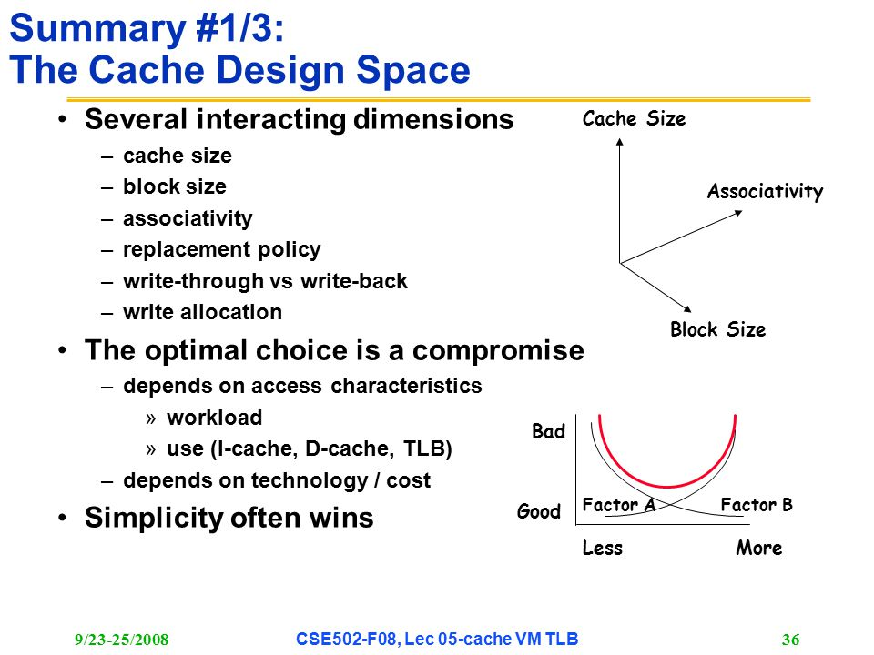 9/23-25/2008CSE502-F08, Lec 05-cache VM TLB 36 Summary #1/3: The Cache Design Space Several interacting dimensions –cache size –block size –associativity –replacement policy –write-through vs write-back –write allocation The optimal choice is a compromise –depends on access characteristics »workload »use (I-cache, D-cache, TLB) –depends on technology / cost Simplicity often wins Associativity Cache Size Block Size Bad Good LessMore Factor AFactor B