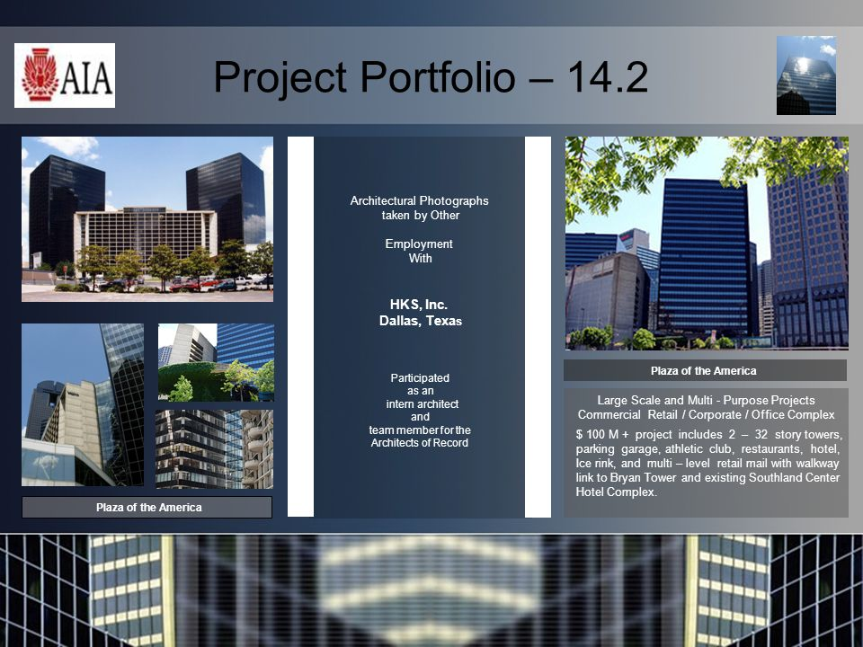 Project Portfolio – 14.2 Architectural Photographs taken by Other Employment With HKS, Inc.
