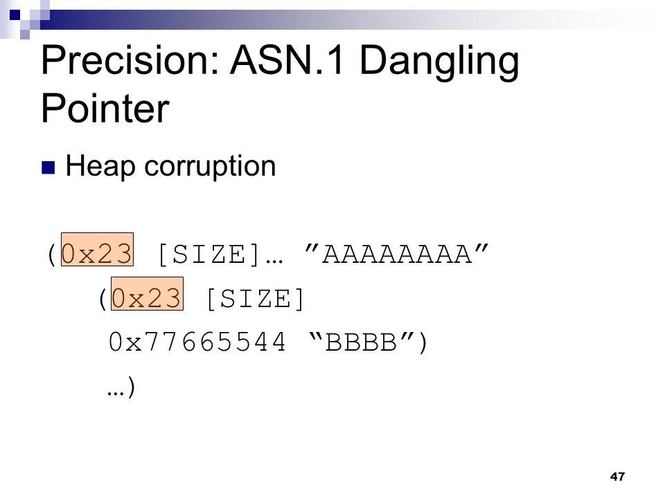 47 Precision: ASN.1 Dangling Pointer Heap corruption (0x23 [SIZE]… AAAAAAAA (0x23 [SIZE] 0x77665544 BBBB ) …)