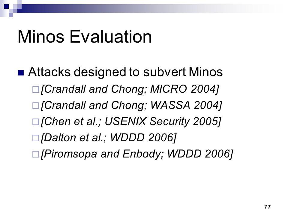 77 Minos Evaluation Attacks designed to subvert Minos  [Crandall and Chong; MICRO 2004]  [Crandall and Chong; WASSA 2004]  [Chen et al.; USENIX Security 2005]  [Dalton et al.; WDDD 2006]  [Piromsopa and Enbody; WDDD 2006]