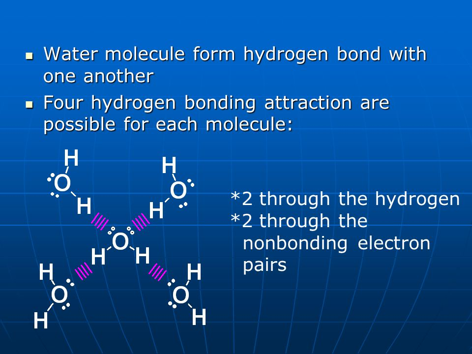 Water molecule form hydrogen bond with one another Water molecule form hydrogen bond with one another Four hydrogen bonding attraction are possible fo