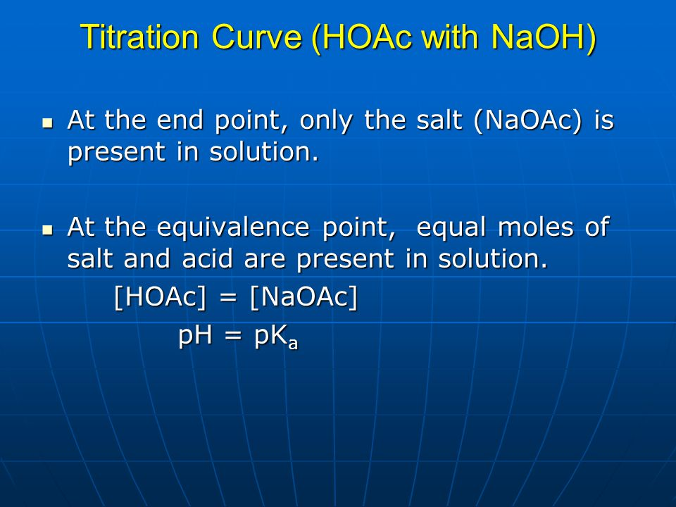 Titration Curve (HOAc with NaOH) At the end point, only the salt (NaOAc) is present in solution. At the end point, only the salt (NaOAc) is present in