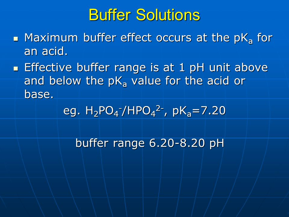 Buffer Solutions Maximum buffer effect occurs at the pK a for an acid. Maximum buffer effect occurs at the pK a for an acid. Effective buffer range is