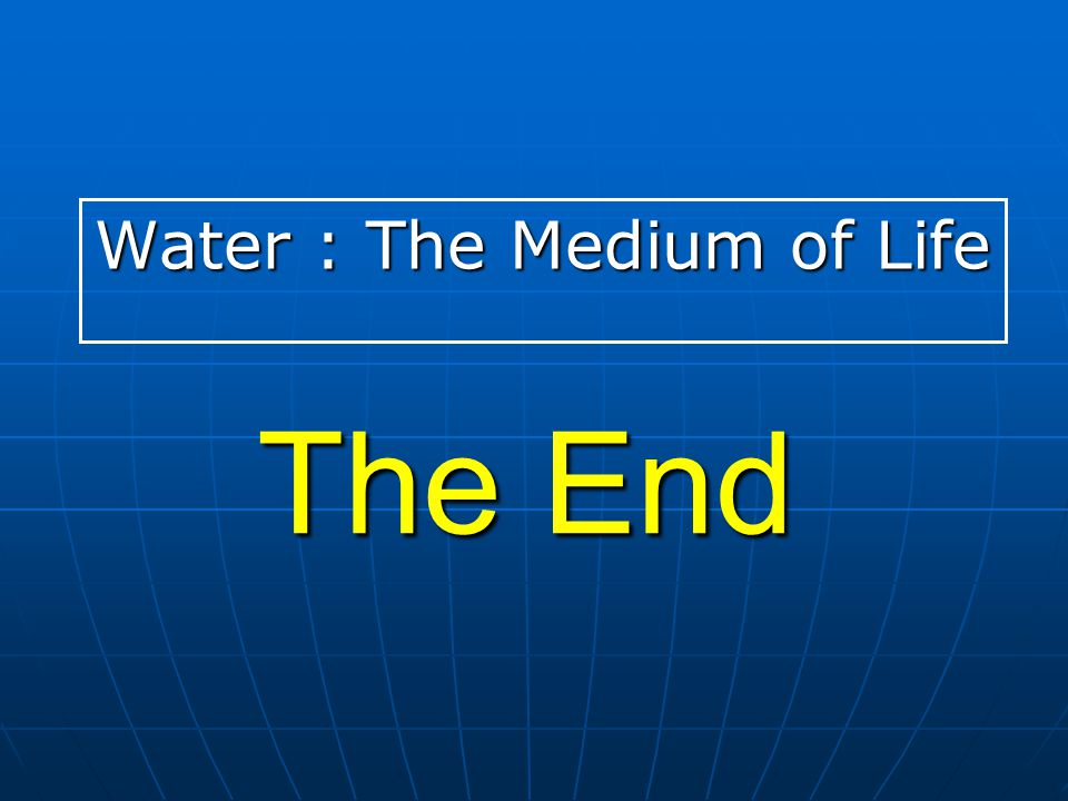 The End Water : The Medium of Life