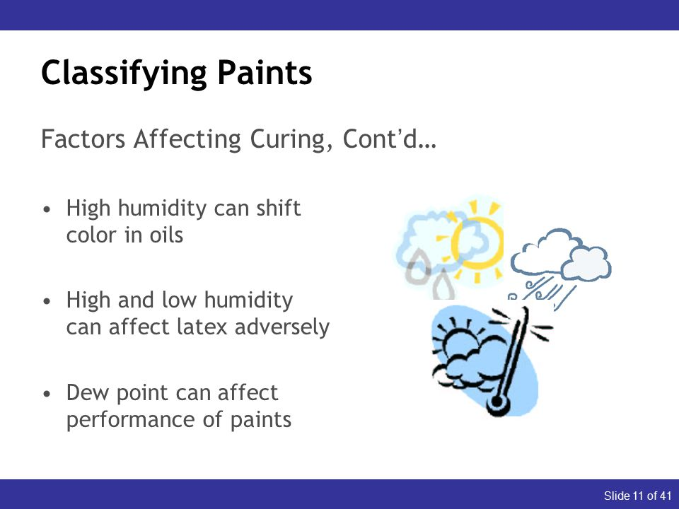 Slide 11 of 41 Classifying Paints High humidity can shift color in oils High and low humidity can affect latex adversely Dew point can affect performance of paints Factors Affecting Curing, Cont'd…