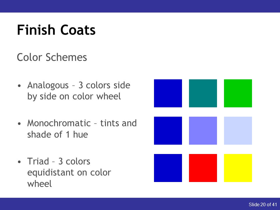 Slide 20 of 41 Finish Coats Color Schemes Analogous – 3 colors side by side on color wheel Monochromatic – tints and shade of 1 hue Triad – 3 colors equidistant on color wheel