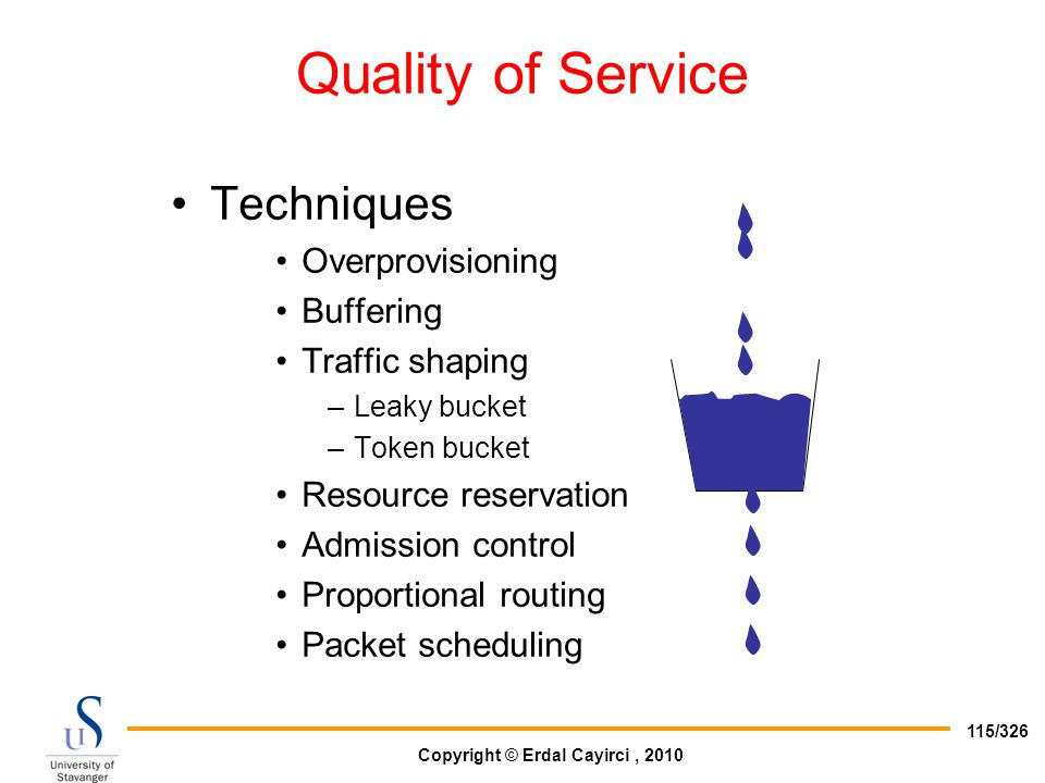 Copyright © Erdal Cayirci, 2010 115/326 Quality of Service Techniques Overprovisioning Buffering Traffic shaping –Leaky bucket –Token bucket Resource