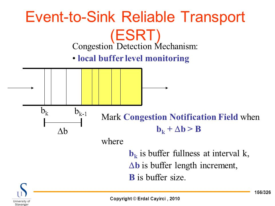 Copyright © Erdal Cayirci, 2010 156/326 Congestion Detection Mechanism: local buffer level monitoring Mark Congestion Notification Field when b k + 