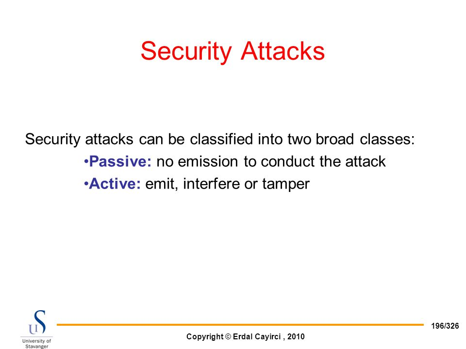 Copyright © Erdal Cayirci, 2010 196/326 Security Attacks Security attacks can be classified into two broad classes: Passive: no emission to conduct th
