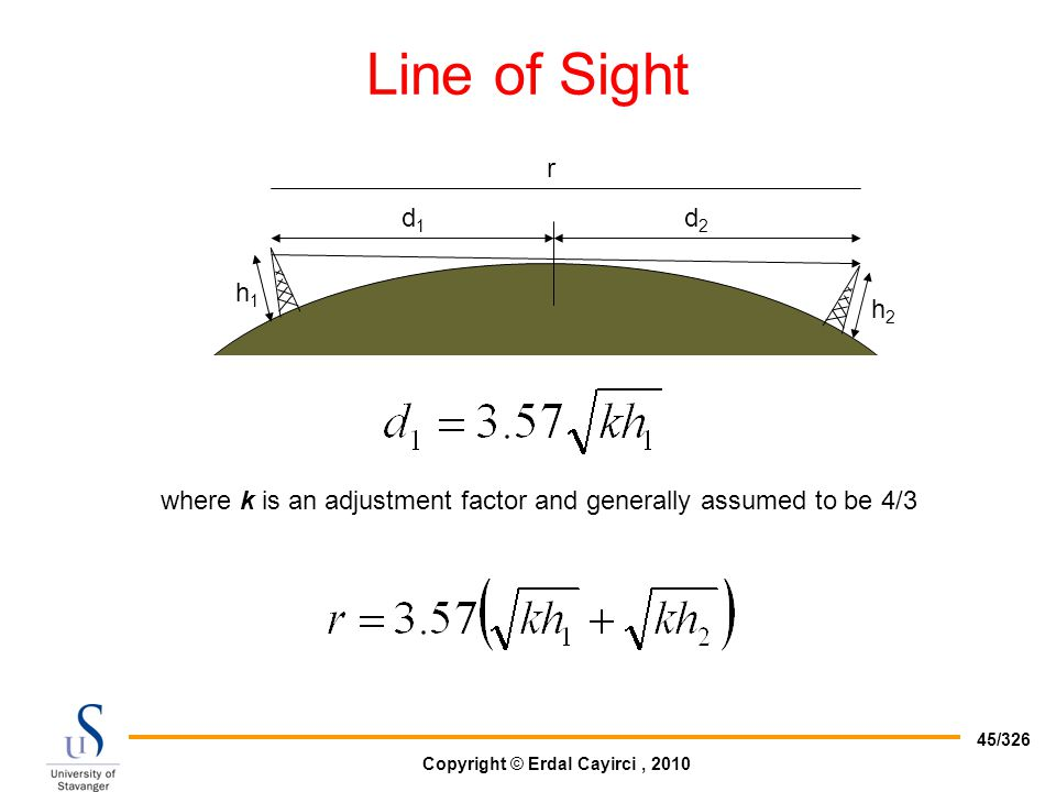Copyright © Erdal Cayirci, 2010 45/326 Line of Sight h1h1 d1d1 d2d2 r h2h2 where k is an adjustment factor and generally assumed to be 4/3