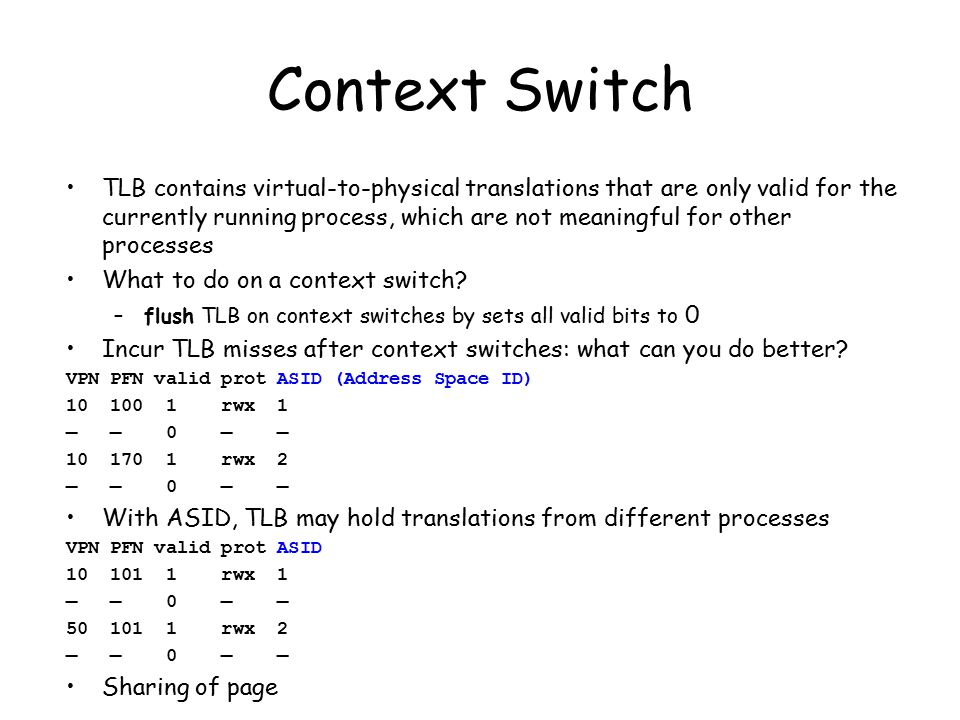 Context Switch TLB contains virtual-to-physical translations that are only valid for the currently running process, which are not meaningful for other processes What to do on a context switch.