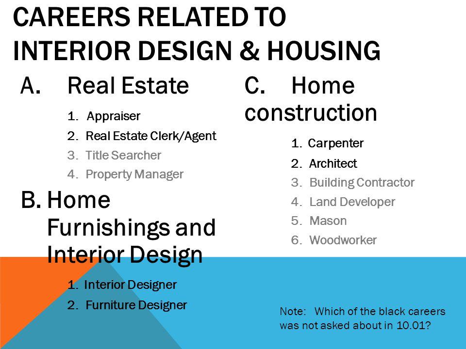 A.Real Estate 1. Appraiser 2. Real Estate Clerk/Agent 3. Title Searcher 4. Property Manager B.Home Furnishings and Interior Design 1. Interior Designe