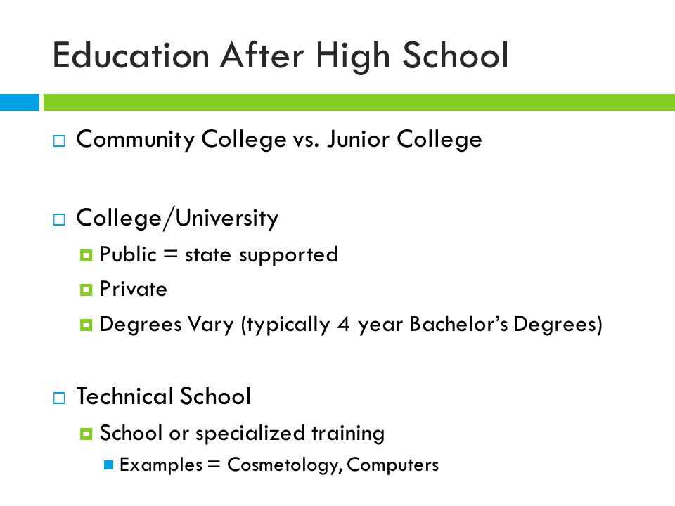 Education After High School  Community College vs.