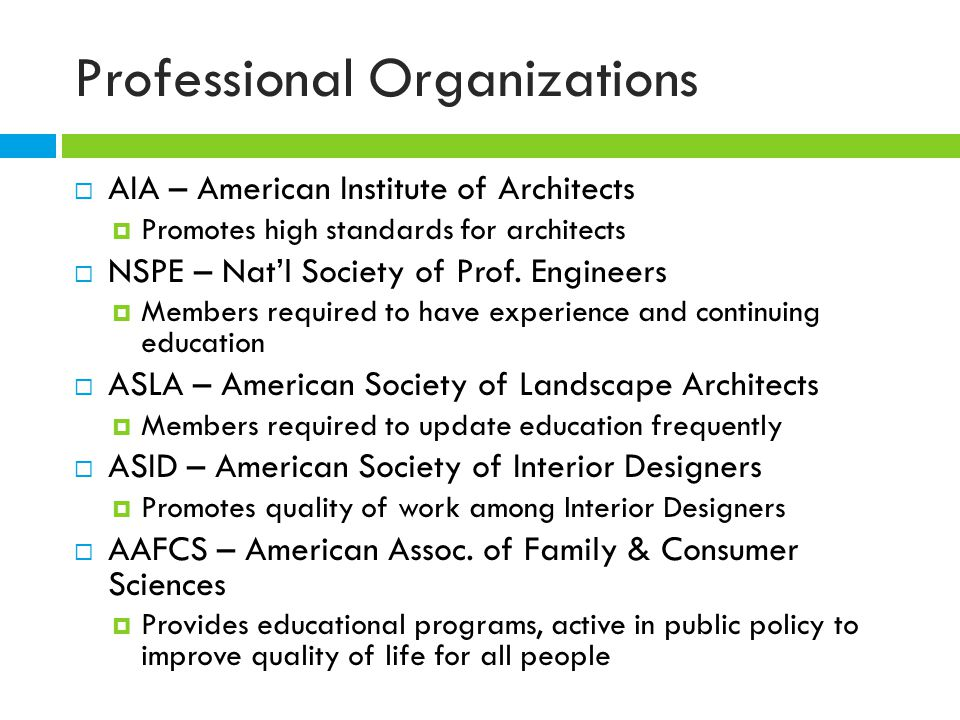 Professional Organizations  AIA – American Institute of Architects  Promotes high standards for architects  NSPE – Nat'l Society of Prof.