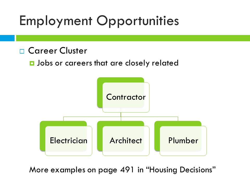 Employment Opportunities  Career Cluster  Jobs or careers that are closely related More examples on page 491 in Housing Decisions ContractorElectricianArchitectPlumber