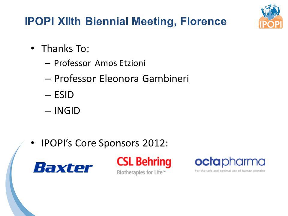 Thanks To: – Professor Amos Etzioni – Professor Eleonora Gambineri – ESID – INGID IPOPI's Core Sponsors 2012: