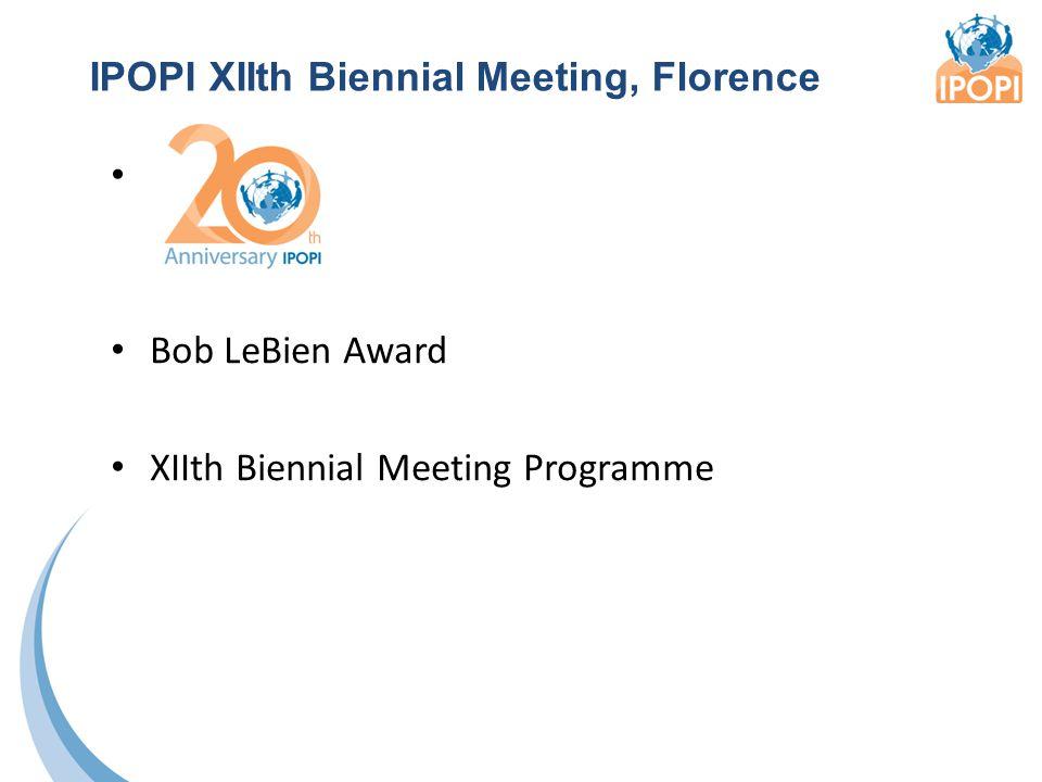 IPOPI XIIth Biennial Meeting, Florence Bob LeBien Award XIIth Biennial Meeting Programme