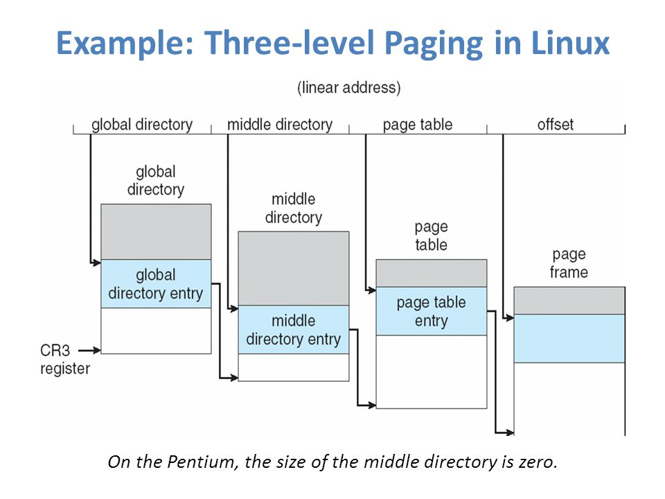 Example: Three-level Paging in Linux On the Pentium, the size of the middle directory is zero.