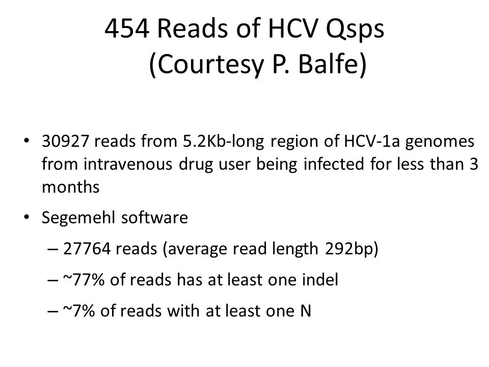 454 Reads of HCV Qsps (Courtesy P.