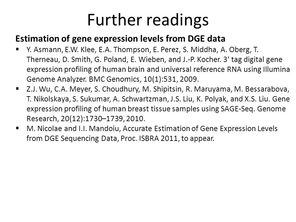 Estimation of gene expression levels from DGE data  Y.
