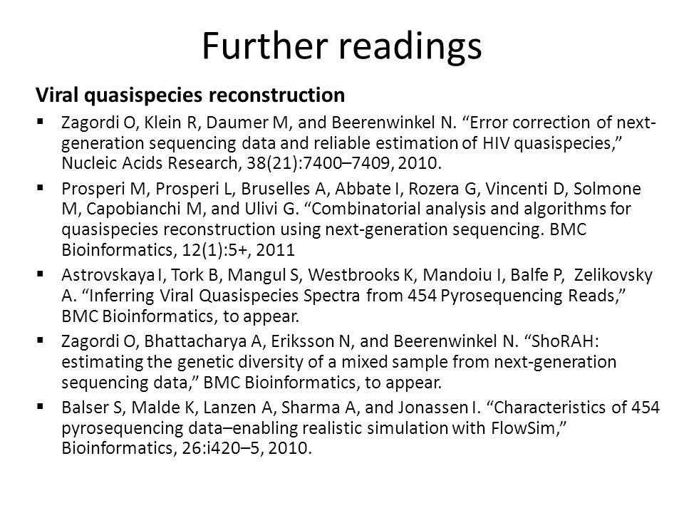 "Viral quasispecies reconstruction  Zagordi O, Klein R, Daumer M, and Beerenwinkel N. ""Error correction of next- generation sequencing data and reliab"
