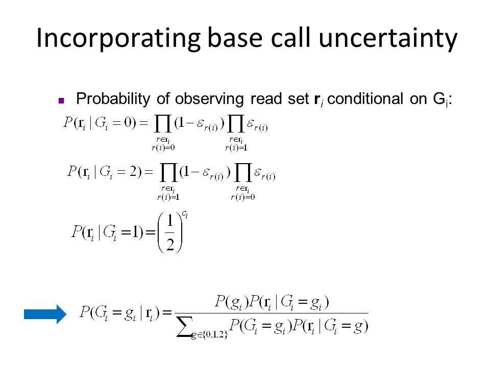 Incorporating base call uncertainty Probability of observing read set r i conditional on G i :