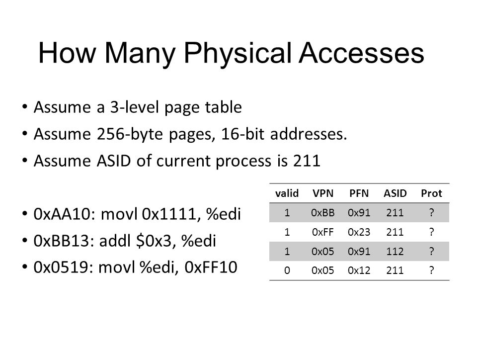 How Many Physical Accesses Assume a 3-level page table Assume 256-byte pages, 16-bit addresses.