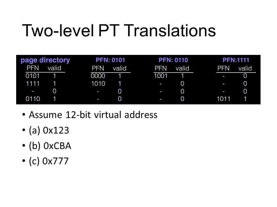 Two-level PT Translations Assume 12-bit virtual address (a) 0x123 (b) 0xCBA (c) 0x777