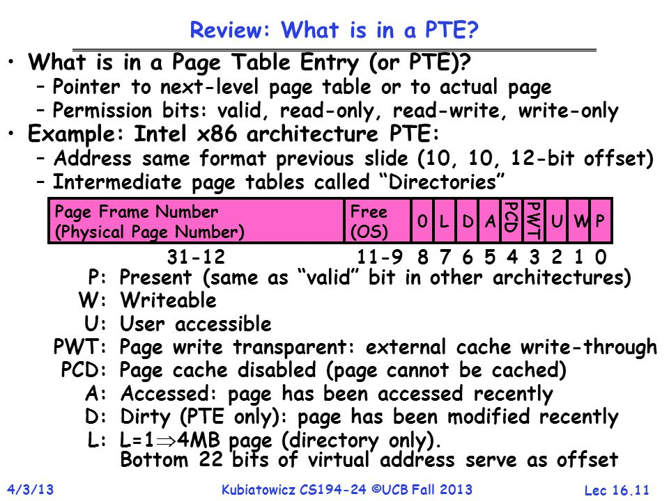 Lec 16.11 4/3/13Kubiatowicz CS194-24 ©UCB Fall 2013 Review: What is in a PTE? What is in a Page Table Entry (or PTE)? –Pointer to next-level page tabl