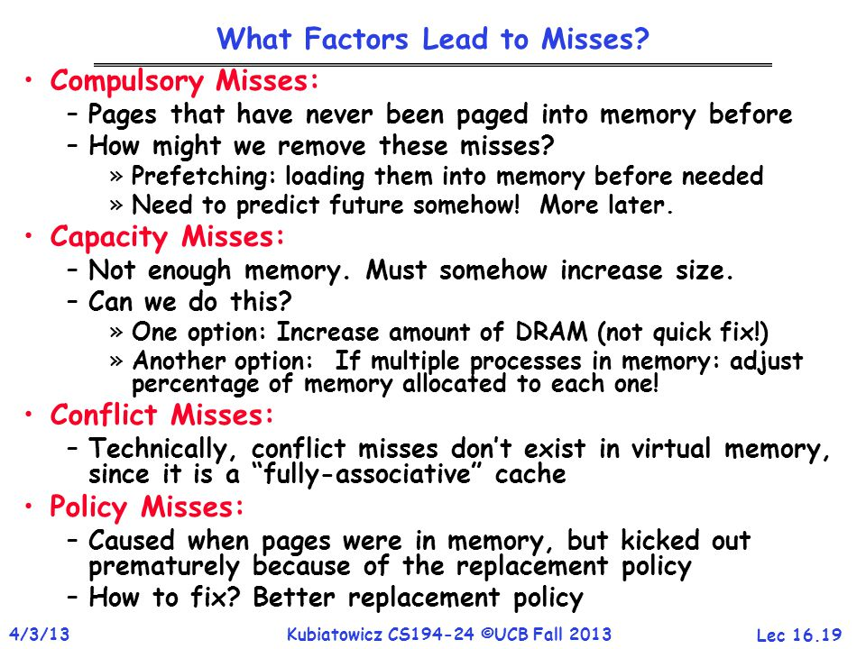 Lec 16.19 4/3/13Kubiatowicz CS194-24 ©UCB Fall 2013 What Factors Lead to Misses.