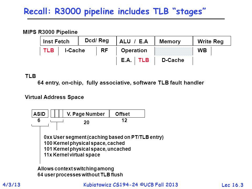 "Lec 16.3 4/3/13Kubiatowicz CS194-24 ©UCB Fall 2013 Recall: R3000 pipeline includes TLB ""stages"" Inst Fetch Dcd/ Reg ALU / E.AMemoryWrite Reg TLB I-Cac"